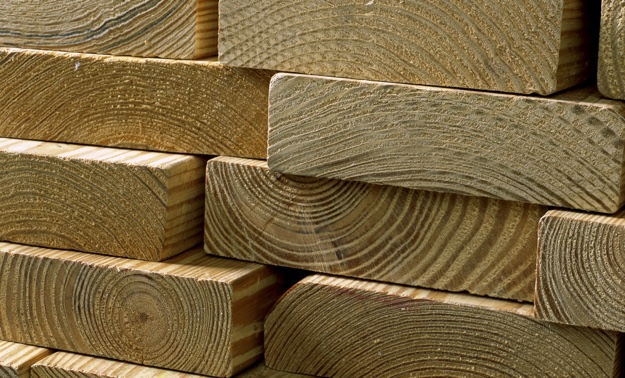 A stack of lumber.