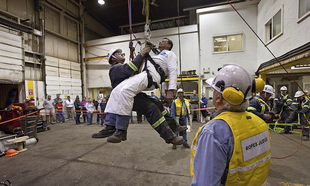 Steve Kallies competing for Elkview Operations in a ropes task, 2010 Regional Mine Rescue in Elkford, BC, Canada