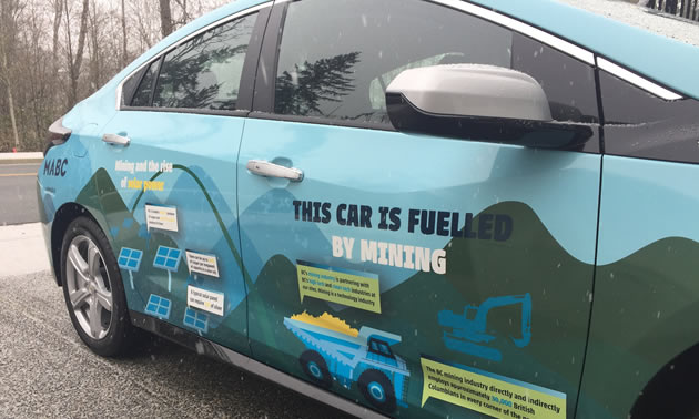 MABC's electric car is wrapped in messages that explain what materials are mined to create a single car.