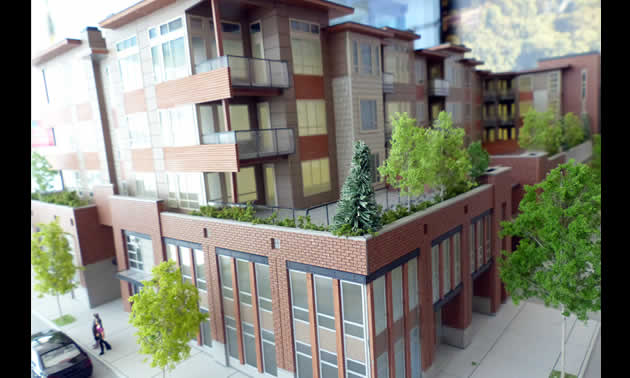 Model photo of the northeast corner of the building.