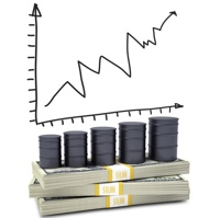 A graph is showing above oil barrels sitting on a stack of money.