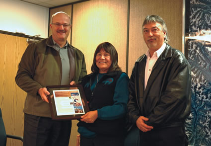 (L to R) Minister Pat Bell, Kathryn Teneese and Bob Luke
