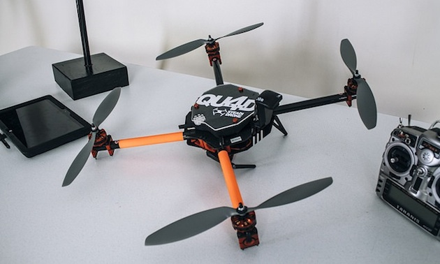 Multirotor Drone: Model - SteadiDrone Qu4d - 1.5 kg, 65cm diagonal width, High resolution camera, 15min flight time.
