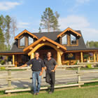 Travis and Clayton Fahselt, owners of Ram Creek Log Homes.