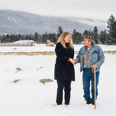 In photo: Chief Alfred Joseph, ?akisq'nuk First Nation and Wendy Booth, Vice-Chair, Columbia Basin Trust Board of Directors.