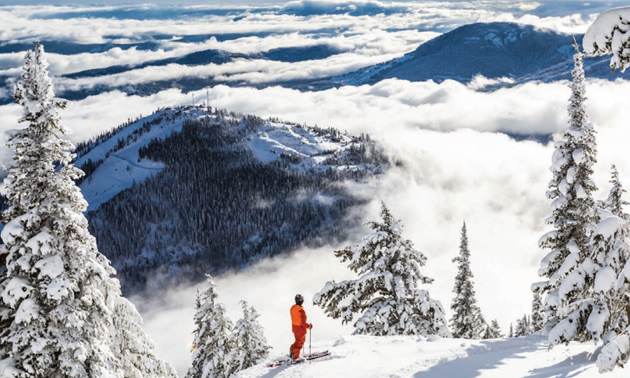 Picture of skier standing on mountainside with view of distant mountains and clouds.