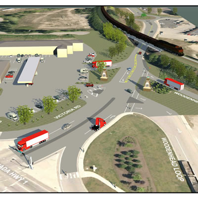 Artist's rendition of a traffic roundabout proposed in Revelstoke.