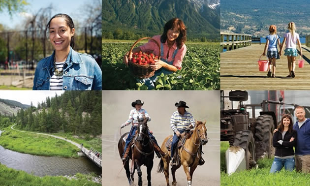 Collage of photos depicting people across rural BC.