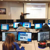 Selkirk student Ezra Buller walked high school students through some of the GIS options.