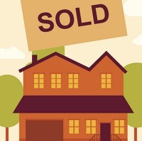A graphic of a house with a sold sign on it.