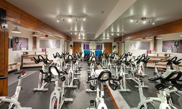 An inside photo of the bikes in Soard Cycle Studio.
