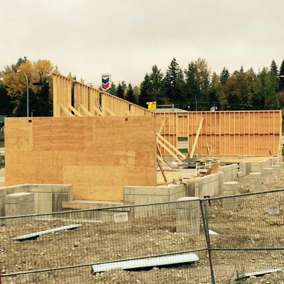 Picture of construction underway at the new Petro-Can/Starbucks location in Revelstoke.