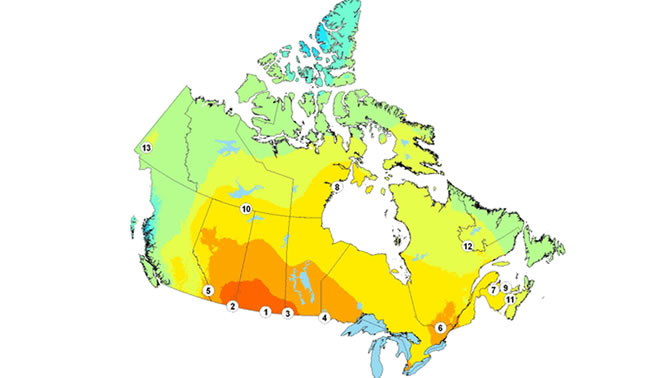 A map of Canada showing the hotspots in the country.