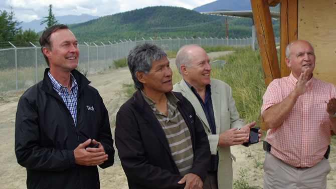 Don Linday, Teck CEO; Jim Whitehead, Chief of Ktunaxa; Rick Jense, Director Columbia Basin Trust; Bill Bennett, BC Minister of Energy and Mines applaud the official
