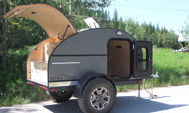 Northern Teardrop trailer with hatch open.