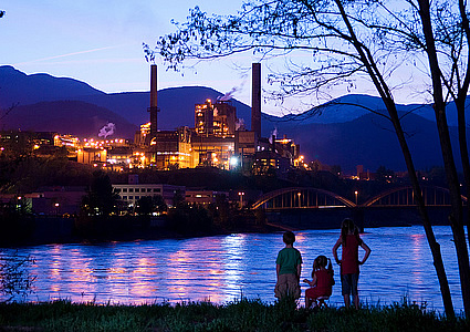 Teck smelter in the evening