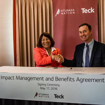 On May 17, Kathryn Teneese, Ktunaxa Nation Council Chair and Don Lindsay, President and CEO of Teck marked the signing of an agreement that will create long-term benefits for the Ktunaxa people and increased certainty around future sustainable mining development in the Elk Valley region.