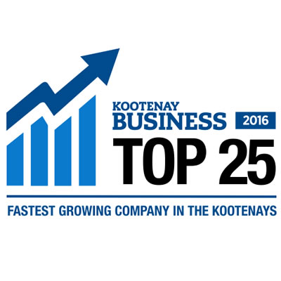 Logo for Top 25 Fastest Growing Companies in the Kootenays.