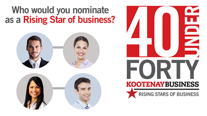 Graphic for the 40 Under 40 Rising Stars of Business.