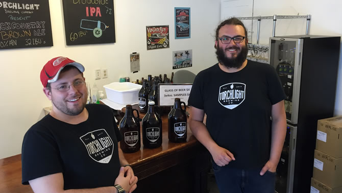 Picture of Craig Swendson and Josh Secord, owners and operators of the Torchlight Brewing Company in Nelson.