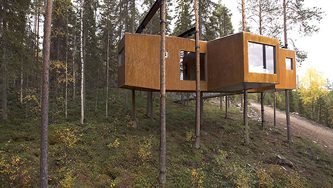 Picture of a treehouse development.