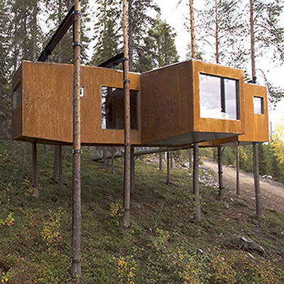 Picture of high-end, modern treehouse.
