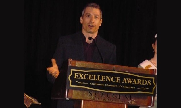 Business Person of the Year, Tristen Chernove, CEO of Elevate Airports, which manages Canadian Rockies International Airport.
