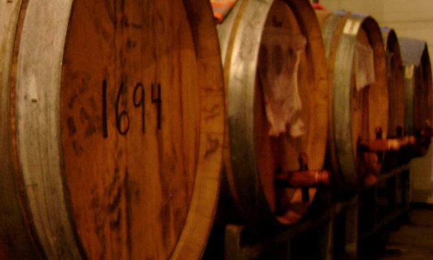 Row of vinegar barrels.