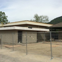 The expansion being built on the Village of Warfield Community Hall to accommodate a new kitchen and washrooms.
