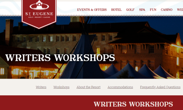 Logo of St Eugene with the writers workshop info