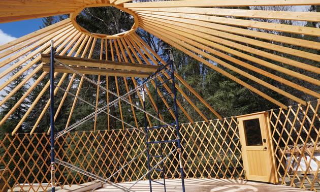 A yurt taking shape.