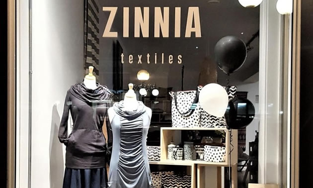 A picture of the window of Zinnia Textiles.